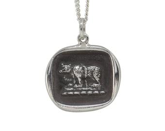 Chained Bear Wax Seal Pendant