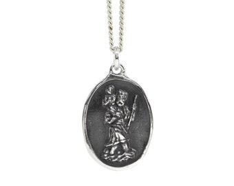 Saint Christopher Medal- Sterling Silver Pendant