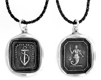 Anchor & Mermaid- Reversible Wax Seal Pendant