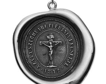 Crucifix- Large Wax Seal Pendant