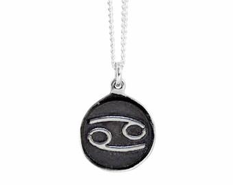 Cancer Zodiac Symbol Coin Pendant
