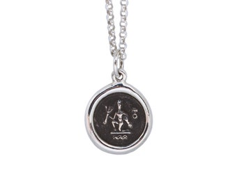 Aquarius Zodiac Mini Wax Seal Pendant