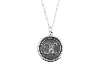 French Script Initial Wax Seal Pendant- Sterling Silver Personalized Custom Necklace