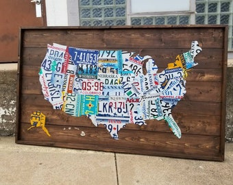 License plate map | Etsy