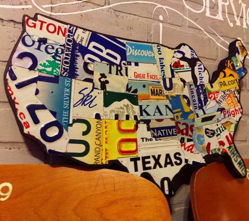License Plate Map Authentic Us License Plates New Small Etsy - Us-plates-map