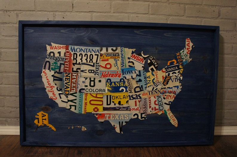 License Plate Map Authentic Us License Plates Etsy - Us-plates-map