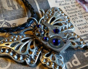 Steampunk Butterfly Necklace with Repurposed Watch Part