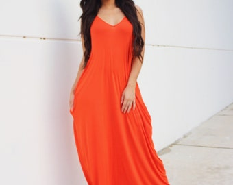 1af955eb16a1 Casual Orange Maxi Dress