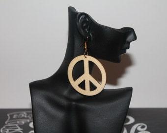 Wooden Earrings - Peace
