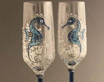 Seahorse wedding flutes, Beach wedding glasses, Personalized glasses, Nautical wedding glasses,