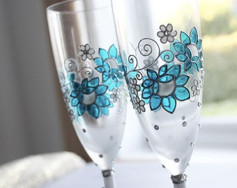 Silver anniversary champagne flutes , Wine glasses in blue, Hand painted glasses, Pearl anniversary, Anniversary gift, 25th anniversary