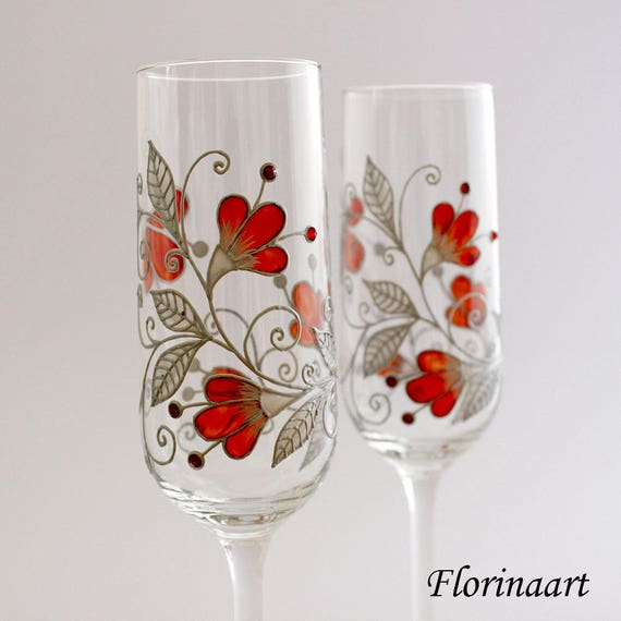 Ruby 40th Wedding Anniversary Gifts: Ruby Red Anniversary Glasses 40th Wedding Anniversary Gift