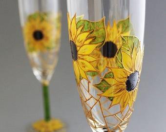 Sunflower Wedding Glasses, Rustic Wedding Glasses, Sunflower Champagne Glasses, Sunflower themed wedding , 2 glasses