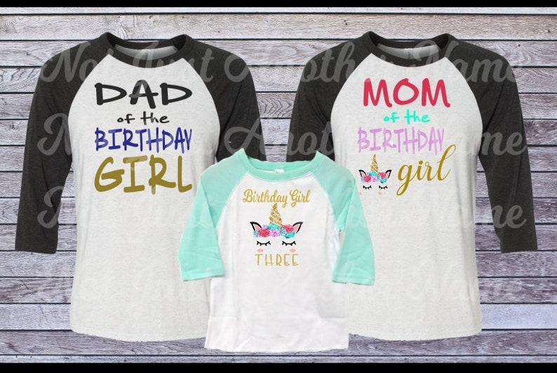 883f8a53 Family Unicorn Birthday Shirts Mom of the Birthday Girl Dad | Etsy
