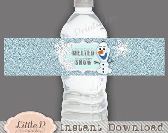 olaf melted snowman water bottle wrapper frozen olaf water etsy