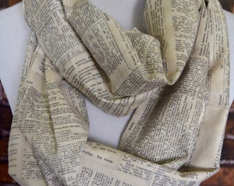 Book pages infinity scarf, book scarf, dictionary page scarf, literary nerd geek circle scarf