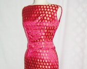 60s 2pc FORMAL Wiggle DRESS sz 6 8 Fuchsia Pink Gold Metallic Paisley Brocade Satin Sleeveless Top and 3 4 Length Skirt Ships w n 24 Hrs