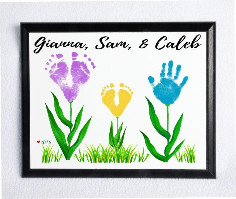 Baby Hand Und Fußabdruck Blumen Plaque Wsinnvolle Sprüche Etsy