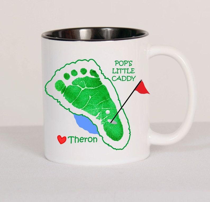 Daddy Little Caddy Custom Golf Footprint Mug. w/ Child's image 0