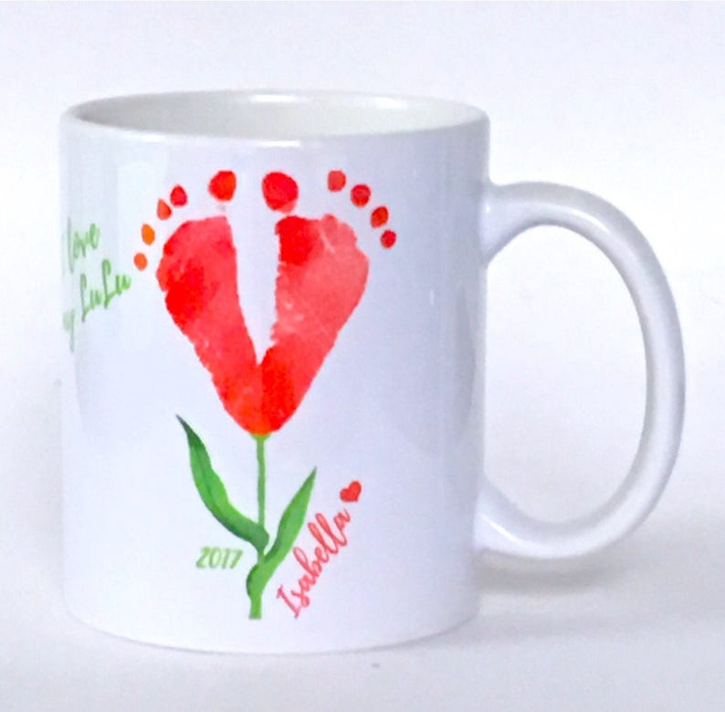 Hand Footprint Flower Deco Mugs Special Keepsake Gift For Etsy