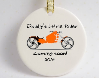 Motorcycle Footprint Ornament, Using Actual Prints, Daddy's Little Rider, Baby Footprint, Born to Ride, Motorcycle Footprint Ornament Gift