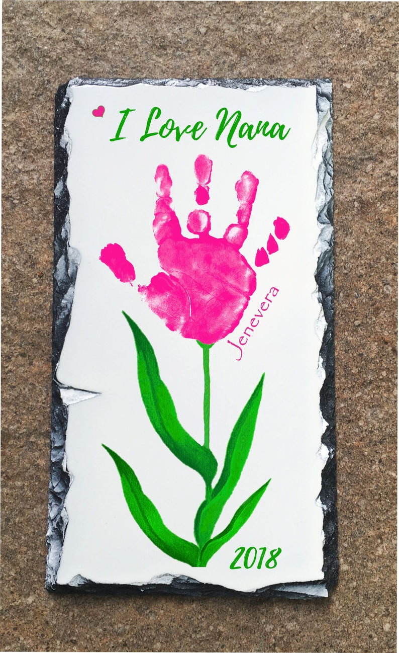 Baby Hand And Footprint Flower Slate Using Child S Actual Etsy