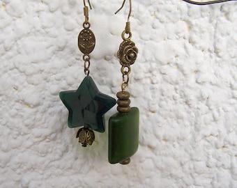 Dangle Asymmetrical earrings, green earrings asymmetric, OOAK, assemblage jewelry