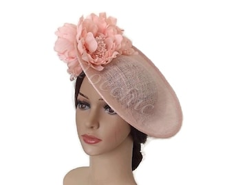 1d8b9f5ba77 LIght pink fascinator hat with flowers