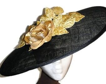 Black lampshade hat, black sun hat, black and gold hat, black races hat, black wedding hat