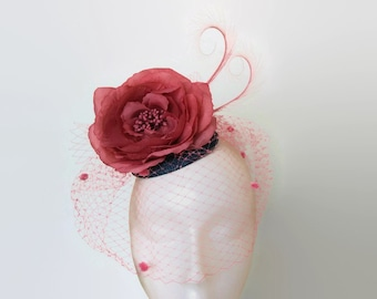 Pink and white fascinator-Pink wedding hat-Fuschia pink  bf30322690b
