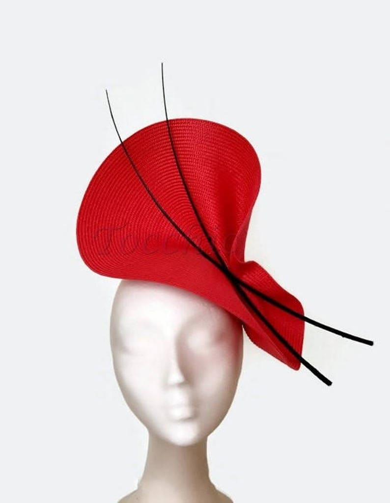 Black and red fascinator red races hat black and red wedding  cbf06ed6d2a