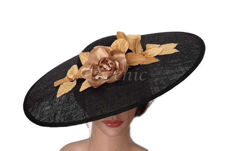 6c9a7cc894a96 Black lampshade hat black sun hat black and gold hat black