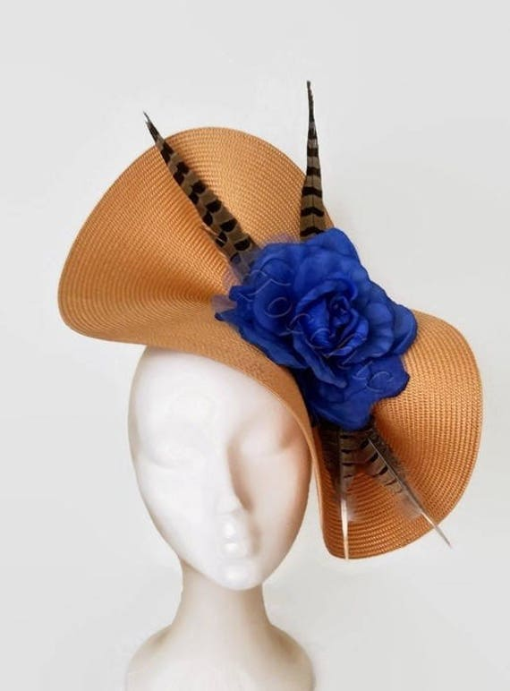 Gold and royal blue fascinator blue kentucky derby hats gold  51e87804945