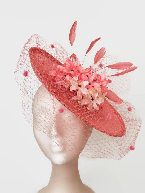 Coral wedding hat with veil and flowers coral fascinator hat  e1f4c3dff76