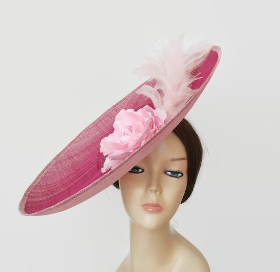 Pink wedding hat light pink races hat pink tea party hats  9fb7bbfaeb6
