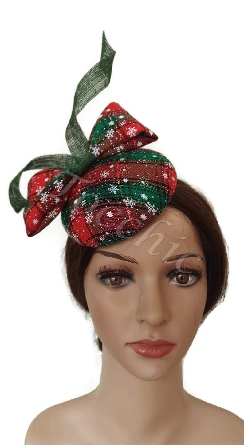 Christmas Fascinator red and green Christmas party hat  f05dd3119a9
