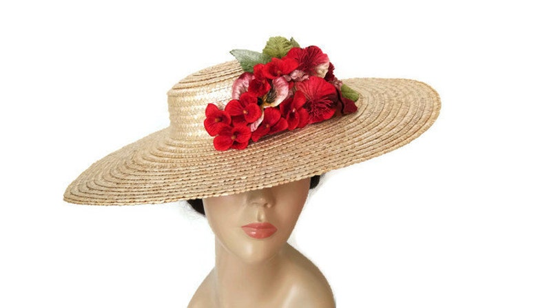 Straw sun hat with red flowers straw boater hatkentucky  580b2e2663f5