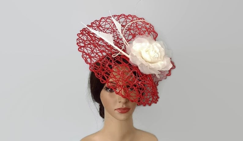 99cdf6717d78d Red and white derby hat for women Red ascot hats Veil