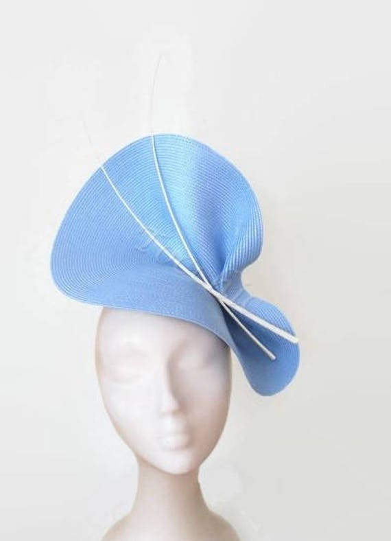 Pale blue fascinator light blue hat blue ascot hat sky blue  c9756c194d3