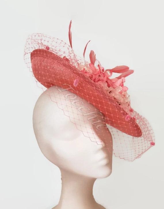 Geek-M Women Fascinators Hat Flower Headband Hairpin for Tea Party Cocktail Wedding Pink