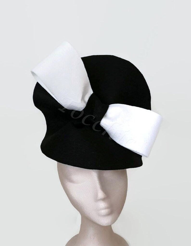 Black and white felt hat with a bow white and black wedding  0041fdf1ab4