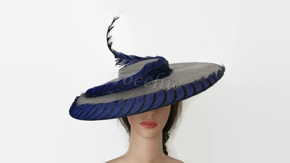 Grey and royal blue hat grey Ascot hatRoyal blue wedding  8acb54a77f1