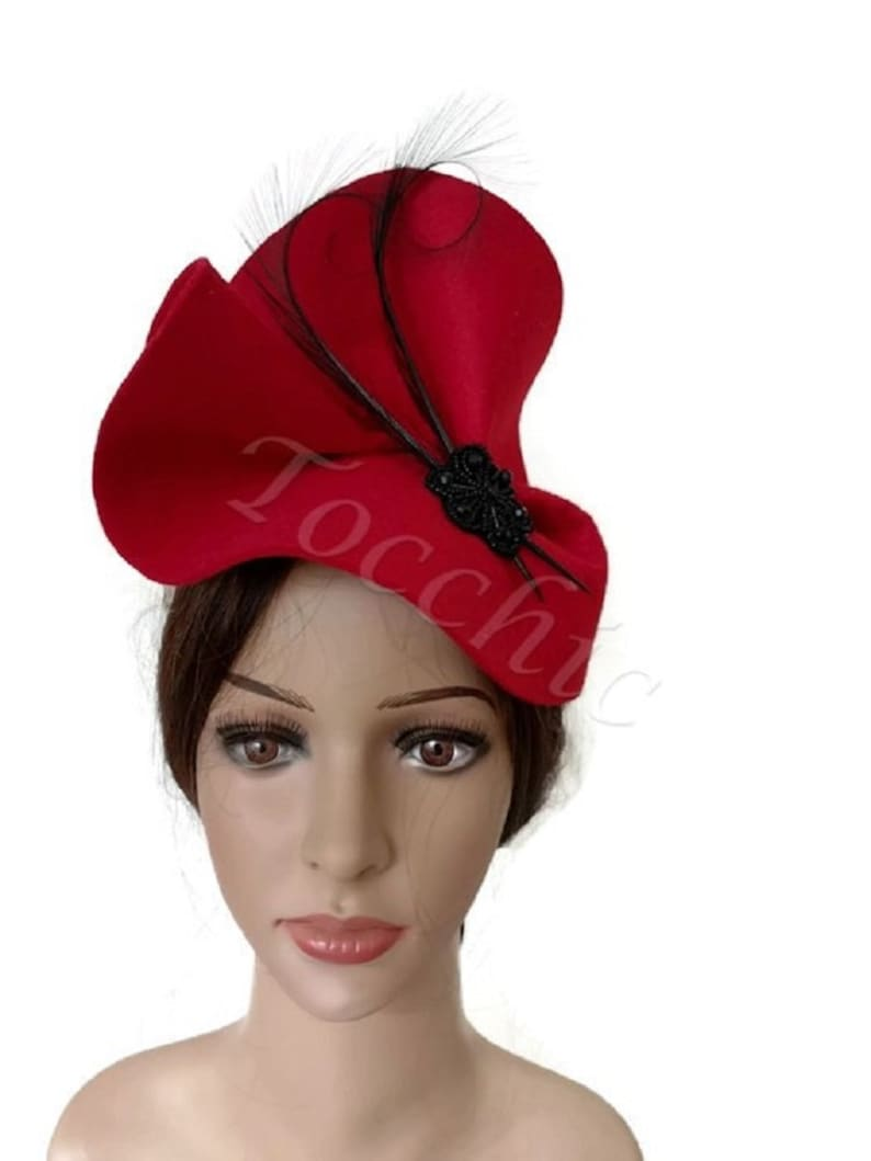 Red and black felt hat winter races hat red felt fascinator  17f513f9dcf