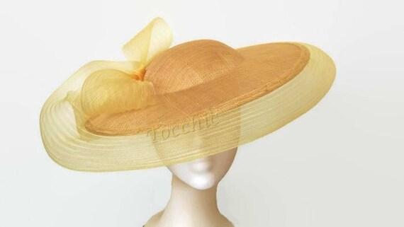 Original yellow hat Gold wedding hat yellow Ascot hat  82ed3a10ac3