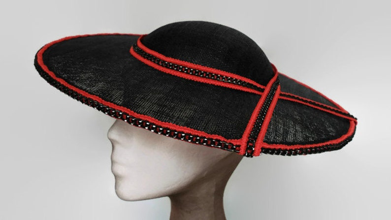 Red and Black hat black wedding hats womens hat red black  f150b760916