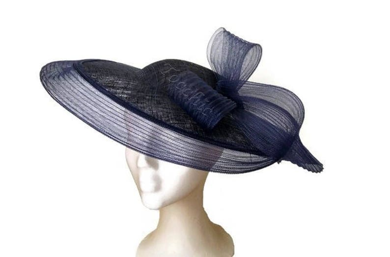 9f741933ee2 Navy blue wedding hat blue races hat navy derby hats Blue