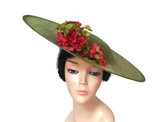 Coral and green hat with flowers-Flower hat coral-Green  2d60253ba8d