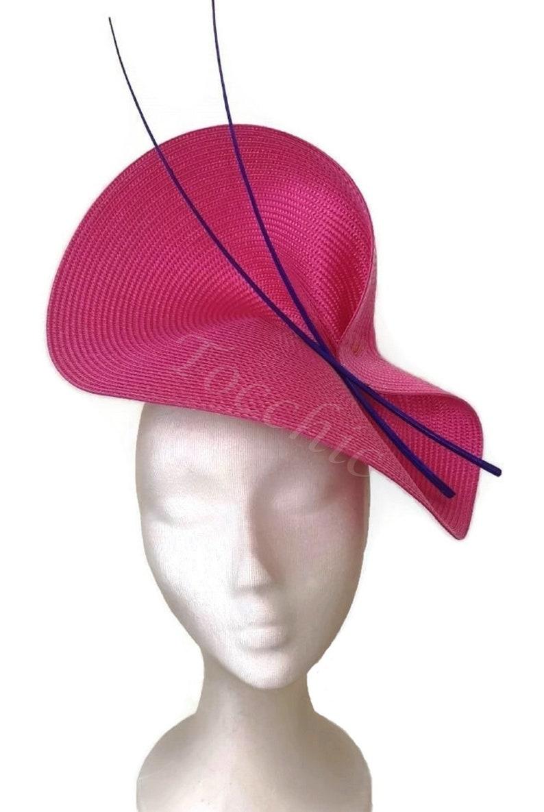Pink and royal blue hatPink wedding hatFuschia pink and blue  a2ee52f00a8