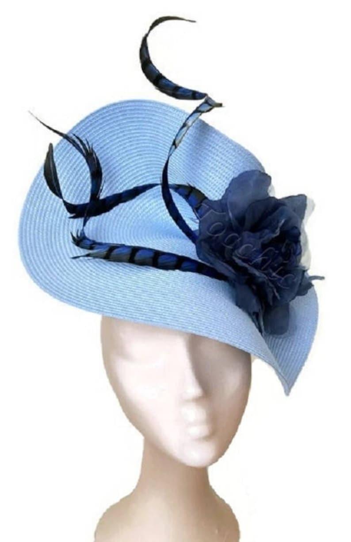 4012761802683 Pale blue fascinator light blue hat royal blue ascot hat | Etsy