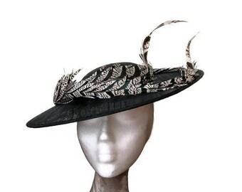 Black and white derby hat, black wedding hat, black Ascot hat, feathers hat black, white races hat, hat with feathers,Black womens derby hat